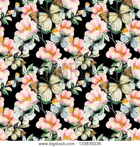 Watercolor briar flowers and butterfly seamless pattern. Pastel colored Dog Rose branches on black background. Hand painted illustration with paper texture