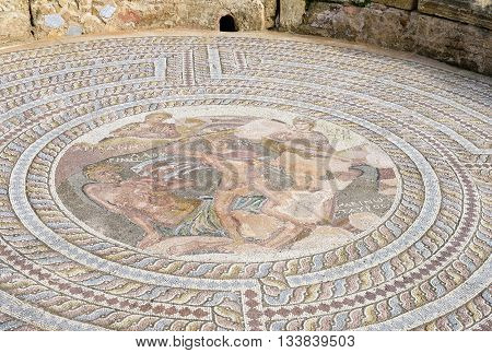 Roman Mosaic in Villa of Theseus Kato Pafos Archaeological Site Paphos Cyprus