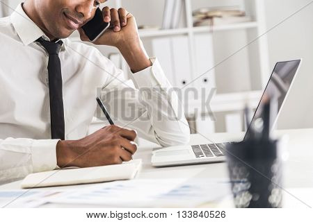 Black Man Working In Office