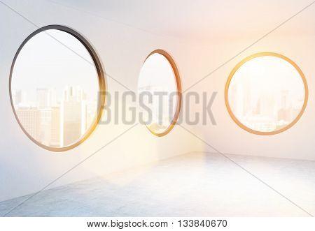Empty Office With Circular Windows