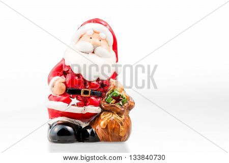 Ceramic Candle Holder In The Form Of Santa Claus Isolated And A White Background