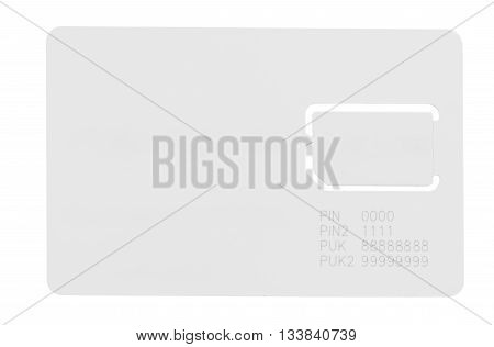 white SIM card for a mobile phone with an empty space for writing isolated