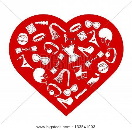 BDSM heart I love bdsm Heart of BDSM accessories vector illustration