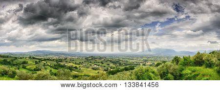 Panorama of landscape near Montefalco Italy Umbria