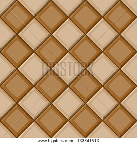Cartoon Hand Drown Beige And Brown Diagonal Seamless Tiles Texture
