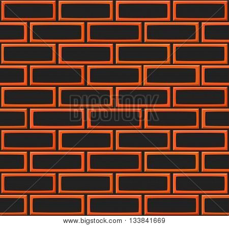 Cartoon Hand Drown Realistic Balck And Orange Seamless Brick Wall Texture