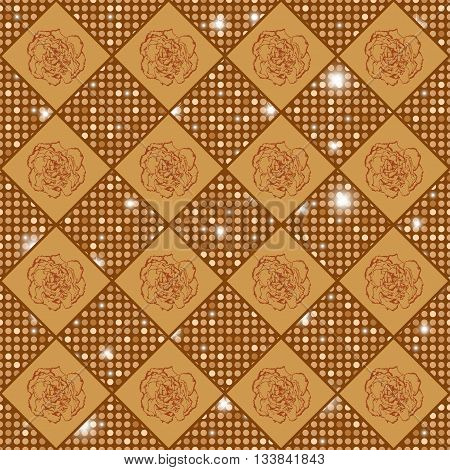 Golden Seamless Chess Styled Vintage Texture With Clove Flowers And Shining Rounds
