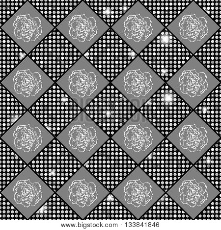 Silver Seamless Chess Styled Vintage Texture With Clove Flowers And Shining Rounds