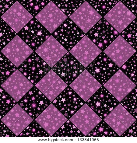 Pink And Black Seamless Chess Styled Vintage Texture With Clove Flowers And Shining Rounds