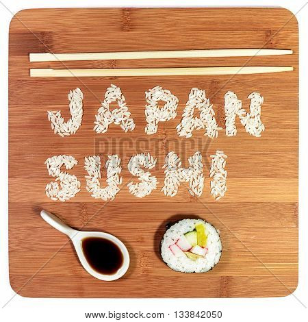 japan sushi written rice with sushi piece and soy sauce
