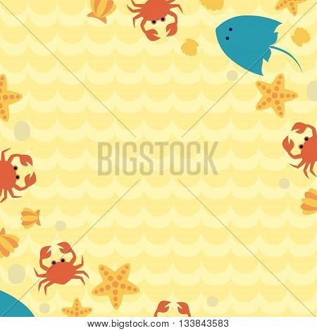 Image of sea shells, crabs, rocks cramp and starfish on seabed. Art summer background with place for your message. Vector illustration