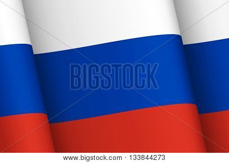 Wind-shaken Russia flag. National symbols of the Russian Federation