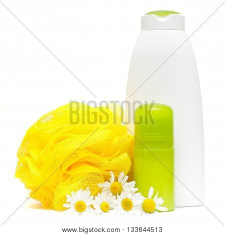 Bodycare products. Spa composition with camomile flower isolated on a white background