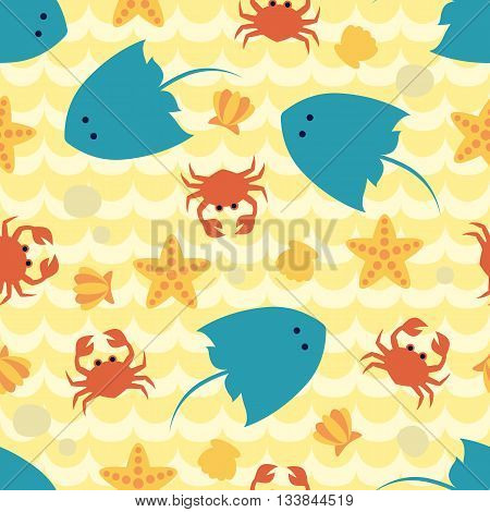 Seamless pattern with seabed view. Art vector Illustration.
