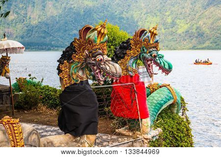 Dragon Statue Pura Ulun Danu Bratan Water Temple Bali Island
