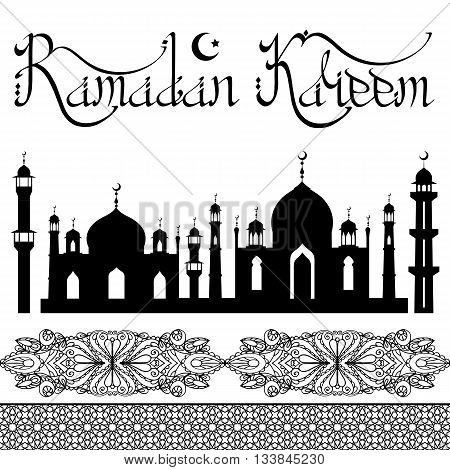 Ramadan Kareem.Ramadan Greeting Card.Vector islamic lettering, pattern borders.Arabic motif.Muslim Vintage religious Holiday Design.Calligraphy handwriting text, title.Abstract background.Isolated on white