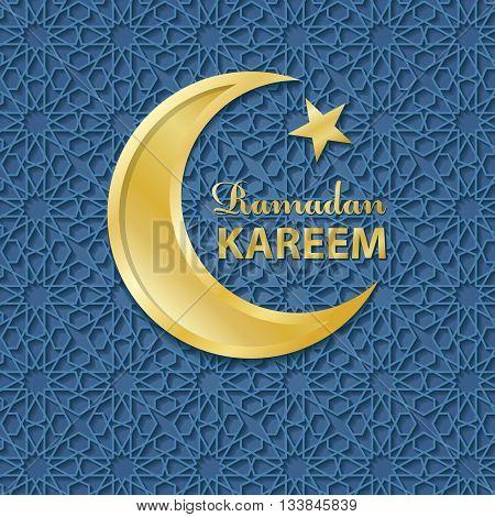 Ramadan Kareem. Ramadan Greeting Card.Vector islamic pattern and gold moon.Abstract background.Arabic motif and Geometrical ornament.Muslim Vector.Vintage wallpaper, religious Holiday Design