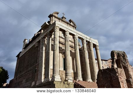 The ancient Temple of Antoninus and Faustina in Roman Forum turned into a church in the Middle Ages