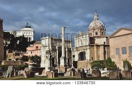 ROME, ITALY - JANUARY 3: View of the Roman Forum with the Arch of Septimius Severus Curia Julia Column of Phoca and Saint Luke and Martina church during a cloudy day JANUARY 3, 2016 in Rome, Italy