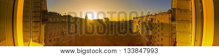 View to Moscow court and on high-rise buildings in the early morning at sunrise