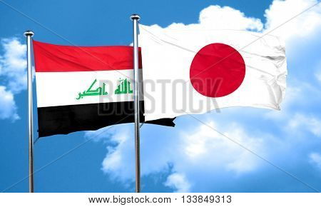 Iraq flag with Japan flag, 3D rendering