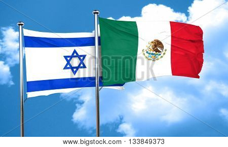 Israel flag with Mexico flag, 3D rendering