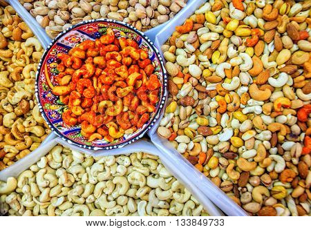 Nuts at the Friday market in Nizwa, Oman