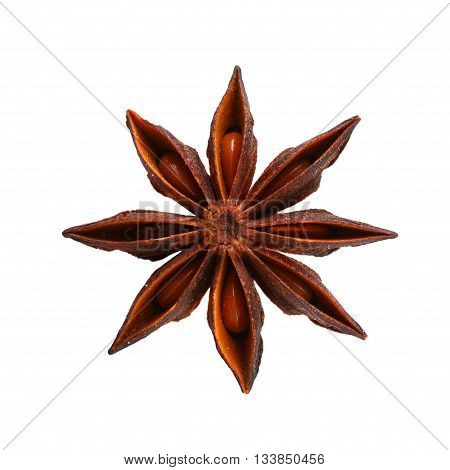 Star brown anise isolated on white background