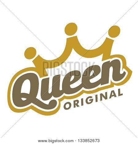 Design Queen crown typography, suitable for icons, symbol, print, and more.