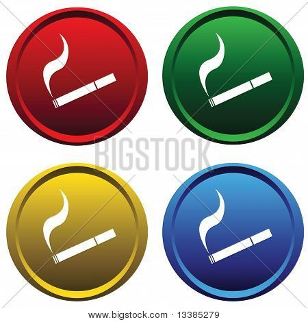 Plastic buttons with a cigarette
