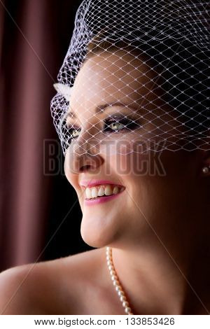 Close up window light portrait of a stunning bride in a birdcage veil. She is looking over her shoulder out the window.