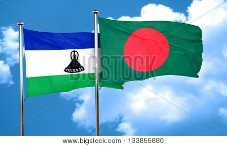 Lesotho flag with Bangladesh flag, 3D rendering