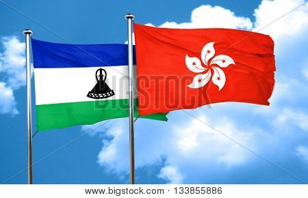 Lesotho flag with Hong Kong flag, 3D rendering