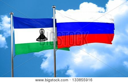Lesotho flag with Russia flag, 3D rendering