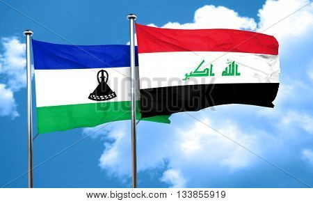 Lesotho flag with Iraq flag, 3D rendering