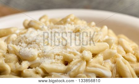 pasta gorgonzola, cream and parmesan with smoke