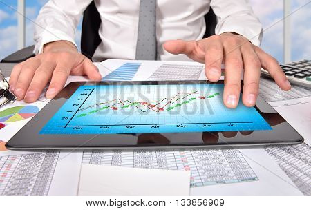 Tablet With Stock Chart