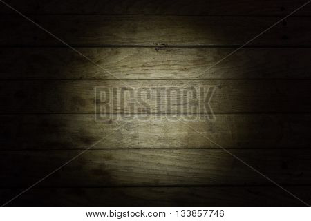 Spot of the light on a weathered wooden texture.