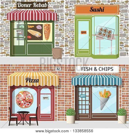 Different fast food cafe. Doner kebab pizza sushi fish and chips. Brick and stone facade. Vector illustration.