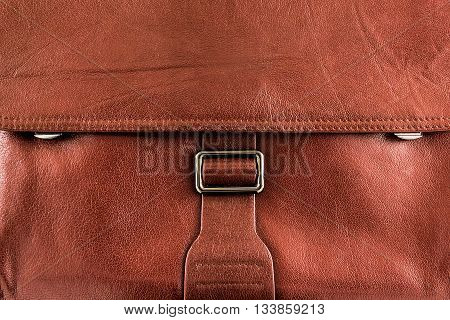 Leather brown briefcase texture - stock photo background.