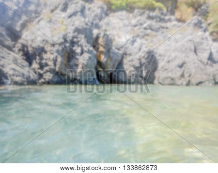 Defocused Background Of Dino Island On The Coast Of The Cedars, Italy. Intentionally Blurred Post Pr