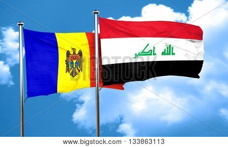 Moldova flag with Iraq flag, 3D rendering