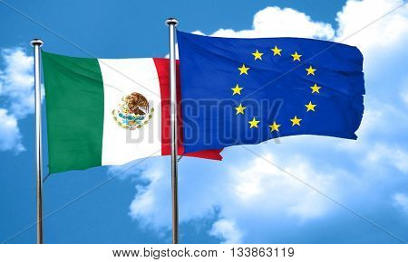 mexico flag with european union flag, 3D rendering