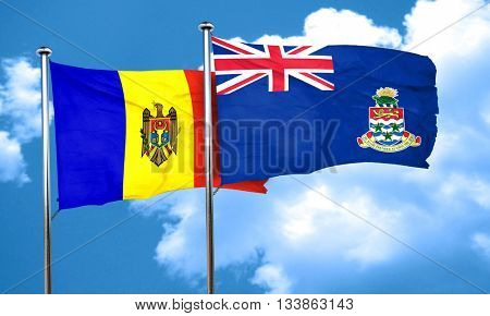 Moldova flag with Cayman islands flag, 3D rendering
