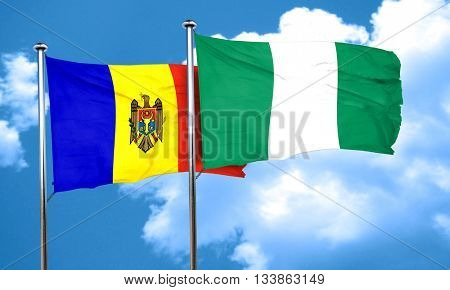 Moldova flag with Nigeria flag, 3D rendering