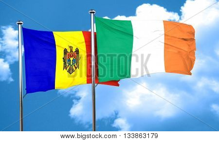 Moldova flag with Ireland flag, 3D rendering