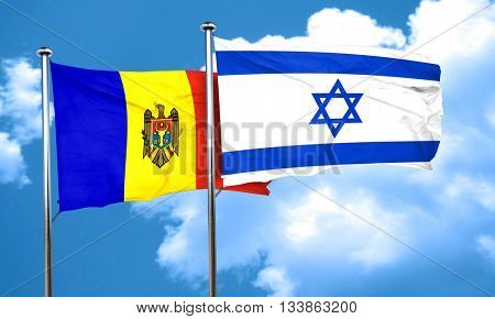 Moldova flag with Israel flag, 3D rendering