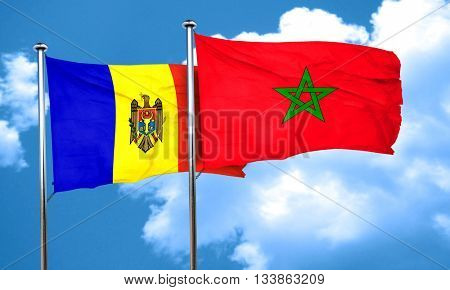 Moldova flag with Morocco flag, 3D rendering