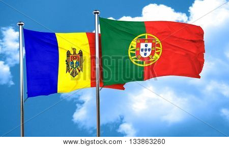 Moldova flag with Portugal flag, 3D rendering