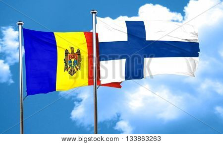 Moldova flag with Finland flag, 3D rendering